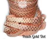 Peach Gold Dot - Metallic Print Elastic - Foil Elastic - Fold Over Elastic - FOE - Elastic by the yard - Shiny Elastic - 2 yards