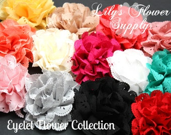 Chooso Quantity Eyelet Flowers - Fabric Flower - Set of TWO - Camilla Collection - Chiffon Flower - Lace rose - Wholesale flowers