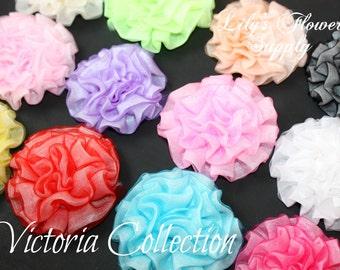 New Vintage Light Petti Puff - Yellow Puff - Chiffon Flower - Ruched Flower - Embellishment - Headband Supply - Victoria Collection