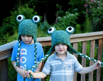 Crochet frog hat.Ready to ship