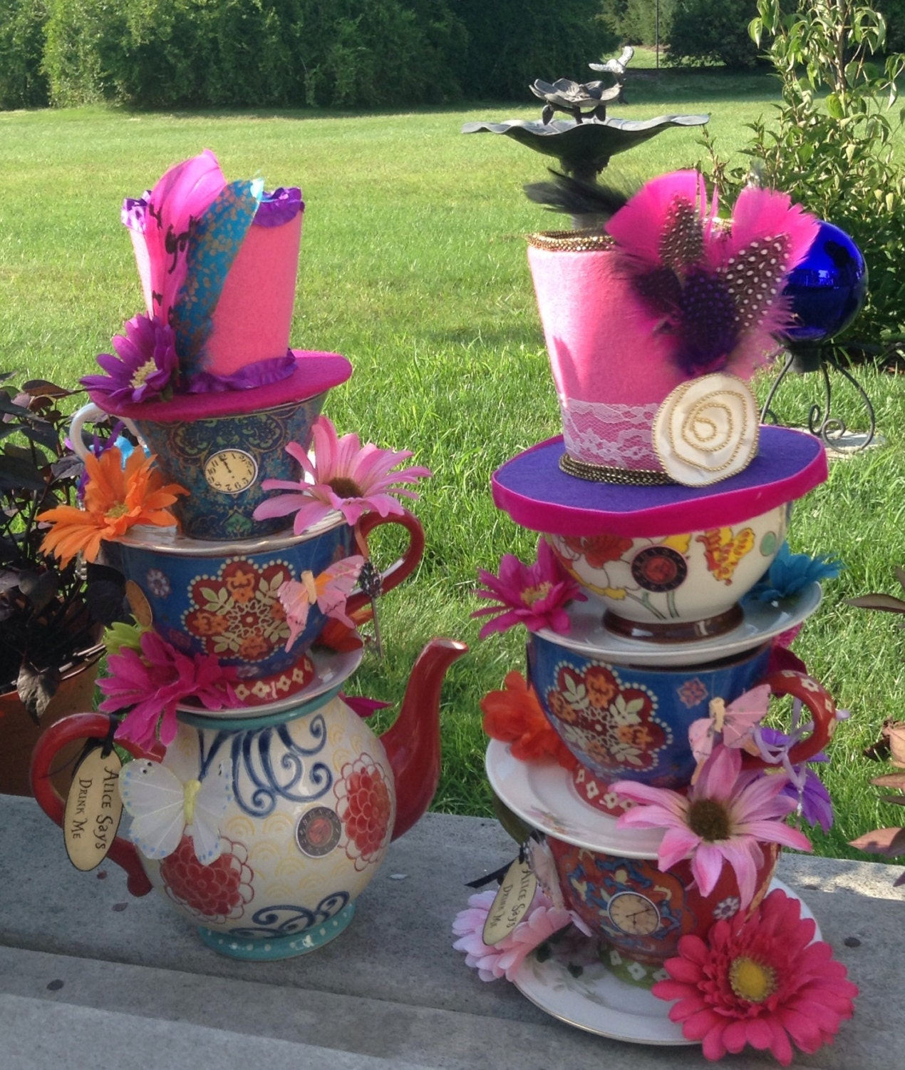 Tea Party Centerpieces: Pair Of Mad Hatter Whimsical Stacked By EdieSChicCrafts On