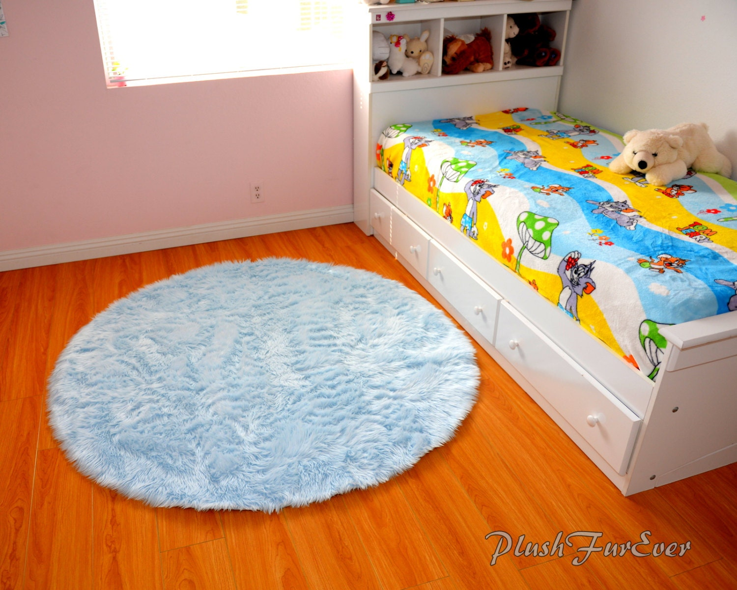 Blue nursery rug baby blue luxury faux fur throw area rug for Best carpet for baby nursery