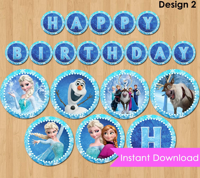 Frozen Birthday Banner Printable Frozen Banner Party By: Disney Frozen Banner INSTANT DOWNLOAD Frozen Banner