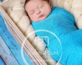 Newborn Stretch Knit Wrap Photo Prop Turquoise