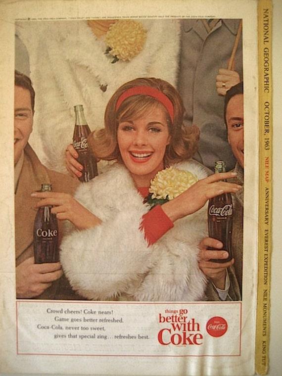 1960s Vintage Coca Cola Advertisement Collection / Paper Ephemera / Set of 4