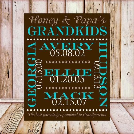 Gifts for Grandparents Grandchildren Names. Grandparents