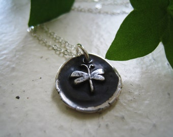 Dragonfly wax seal necklace