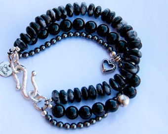 Trifecta Bracelet - snowflake obsidian, hematite, black onyx and sterling silver
