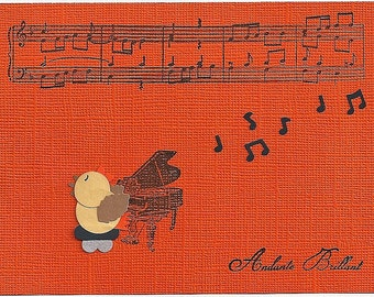 Greeting card with bird singing on piano