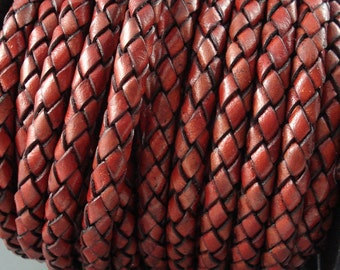 Leather Braided Cord, 6MM Antique Tan Bolo Leather, Excellent Quality All Leather, One Yard