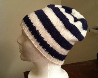 Knit skull cap (navy/white) one size fits most, striped hat, winter hat, knit beanie