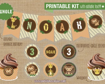 JUNGLE Instant Download SAFARI (JUNGLE) Birthday or Baby Shower Party Printable kit (Editable Text)