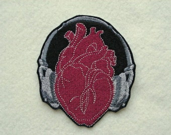 "Listen to your Heart, Iron On Patch, 3 1/4"" x 3 3/4"", Music, Heart Throb, Heart Beat, Embroidered Patch, Head Phones"