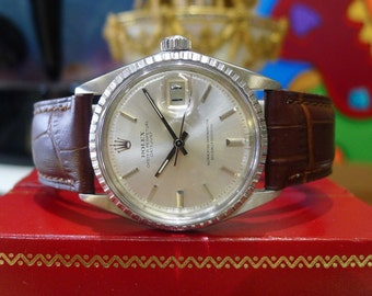 Mens Vintage ROLEX Oyster Perpetual Datejust Steel Watch