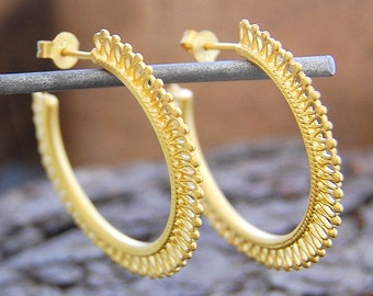 Gold Hoops, Boho Earrings, Hoop Earrings, Statement Earrings, Gold Plated Hoops Earrings, Large Hoops Earrings, Filigree Earrings, Bohemian
