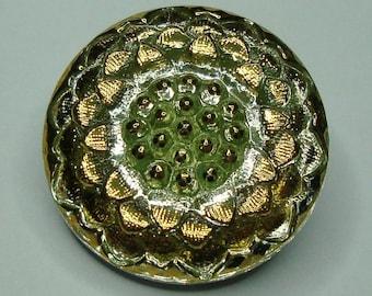 Czech Glass Button 23mm - hand painted - blossom, uranium/vaseline glass (B23097)