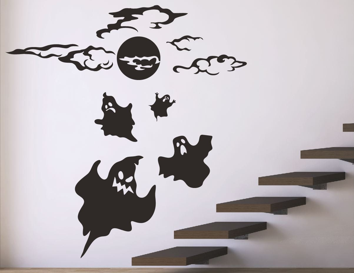 Wall Decor Halloween : Halloween wall decals stickers ghost decor stick on