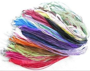 100 pieces Mixed Colors Voile Organza RIBBON CORD NECKLACES.
