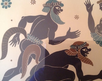 vintage framed print of 3 Ancient Greek figures dancing marked Greek Line