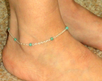 Silver turquoise anklet, Turquoise ankle bracelet, Ankle jewelry, Ankle bracelet UK, Gifts, Gemstone anklet