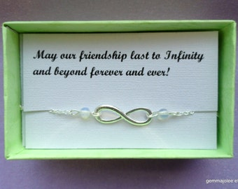 Friendship gift, Infinity bracelet, Silver infinity moonstone bracelet, Bridesmaids gifts, Silver bracelet, Infinity jewelry