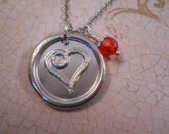 Hand Cast Pewter Wax Seal Heart Necklace