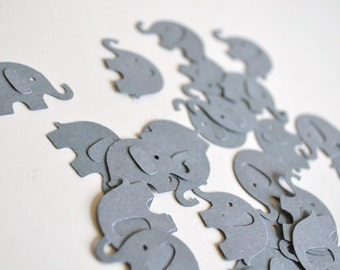 steel grey baby elephant confetti, baby shower confetti, boy baby shower confetti, girl baby shower confetti, baby shower decor- 50 pieces