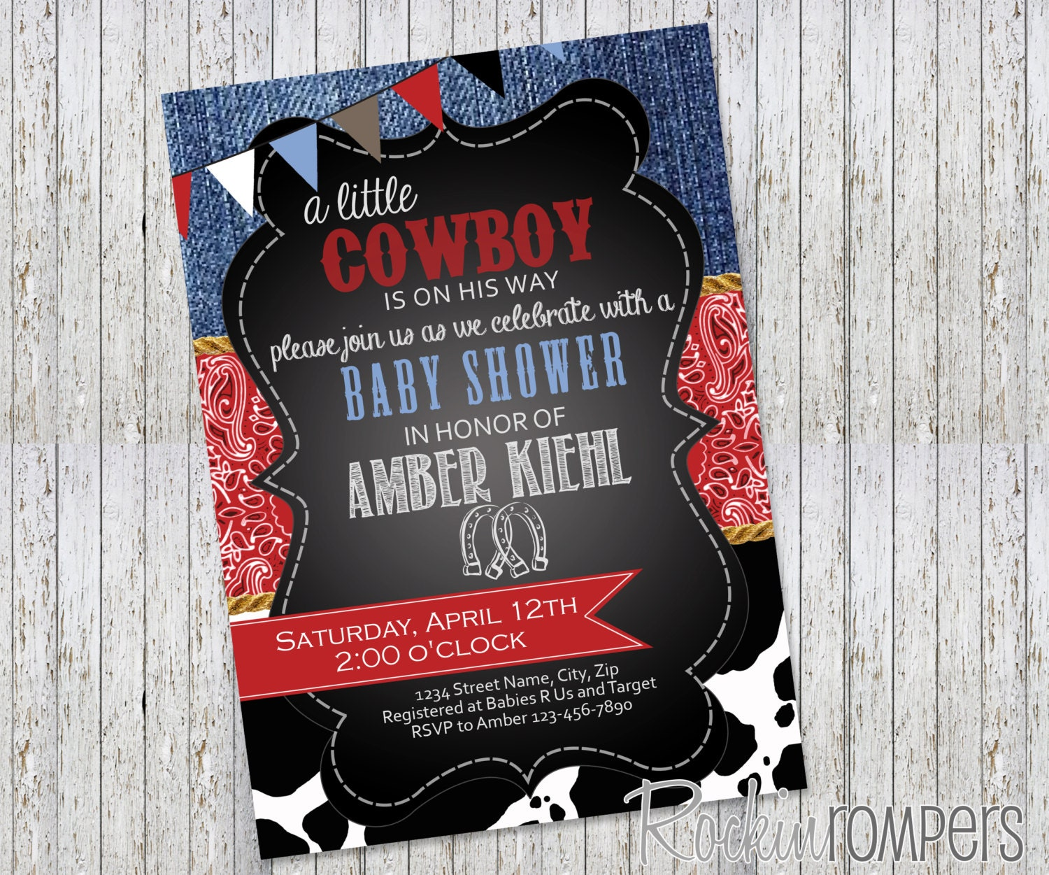 country cowboy theme baby shower invitation
