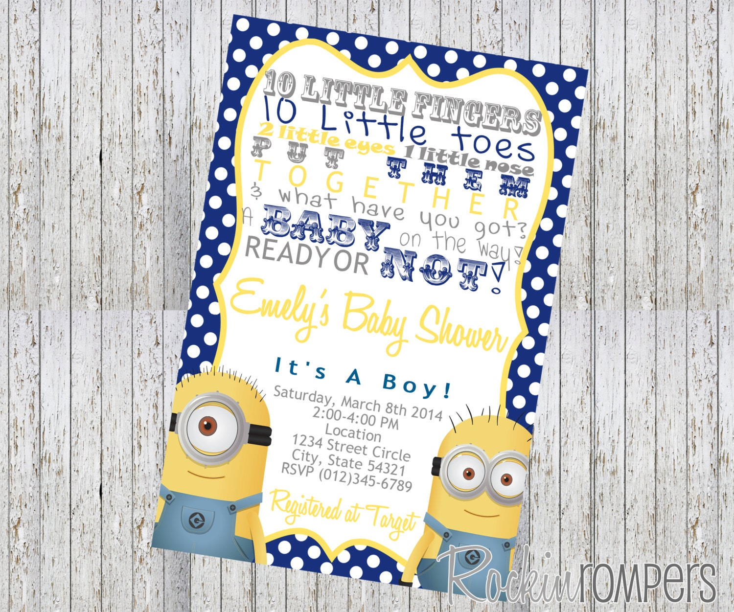 Minion Inspired Baby Shower Invitation 4X6 By RockinRompers