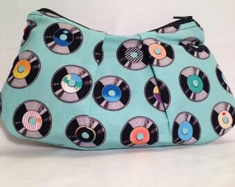 Medium Vinyl Records Zippered Pleated Pouch Bag Purse