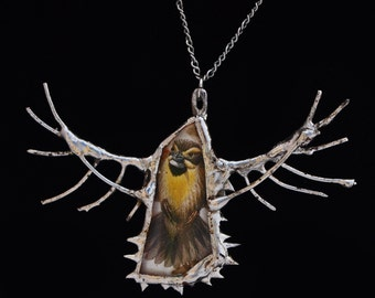 Wire and Glass Bird Pendant
