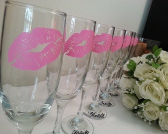 SALE Personalized lips monogram Champagne flute Bride bridesmaids birthday party
