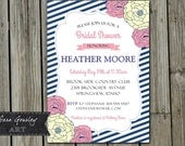 Bridal Shower Invitation, Digital, Pink and Navy, Flowers, 5x7, PDF or JPEG, Printable, Baby Shower, Birthday Invitation