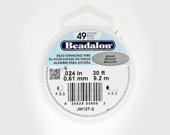 Beadalon 49 Strand Beading Wire, .024in 30ft & 100ft Spools, Beading Wire, Stringing Wire