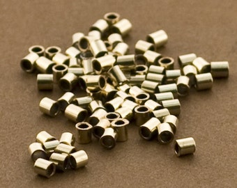500pc - Gold Crimps, 2x2 Crimp Bead Tubes, Gold Filled 14/20 Crimp Beads, 2mm Crimps, Wholesale, Tubing,  Made in USA, Strong Crimps