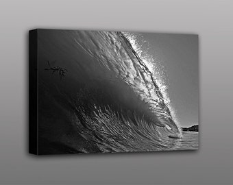 8x10 Canvas Print Black and White Ocean Wave Surfing Photograph Wall Art Home Decor