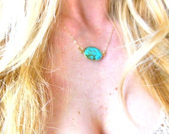 Necklace oval raw gold edged turquoise faceted pendant on a 14k gold fill chain- Gemstone necklace- Gold fill necklace