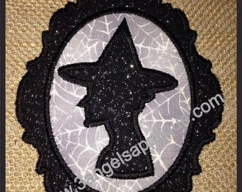 Cameo Witch Applique Design 2 sizes INSTANT DOWNLOAD
