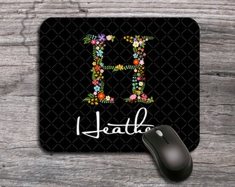 Monogrammed Floral initial, Personalized Mouse pad, customized computer mousepad with custom flower letter, unique monogram gift - 097
