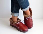 Touch of Warmth. Women Handmade Shoe-Slippers made with smooth sheep skin napa leather and eco-friendly fur. Really warm and cozy