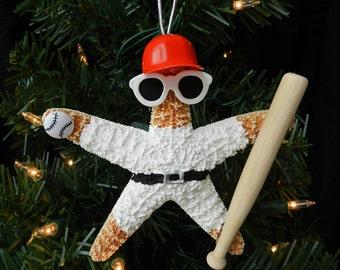 Sugar Starfish Baseball Player Ornament