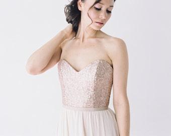 Rochelle // Rose Gold Sequinned Wedding Dress