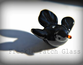Blackbird Singing in the Dead of Night,  Handmade Lampwork Bird Bead,  Animal, Birdy,  Critter,  Totem.