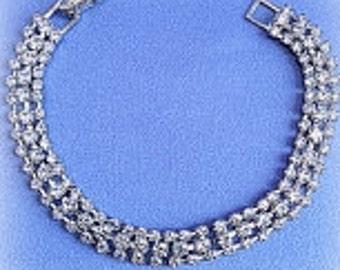 Elegant 3 Row Clear Rhinestone on Silver Bracelet