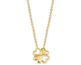 Four Leaf Clover 14k Solid Gold Necklace Luck Necklace Best Price