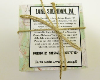 Lake Sheridan PA Vintage Map Stone Coaster Set - Free Shipping