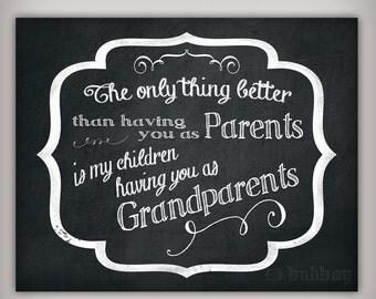 Grandparents - Digital Art Print- 8x10 & 5x7 INSTANT DOWNLOADS - Printable .JPG Files - Chalkboard Art