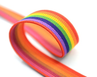 1 inch 25mm Colored Striped Elastic, Rainbow Color Elastic,Waistband Elastic,Sewing Elastic 52280