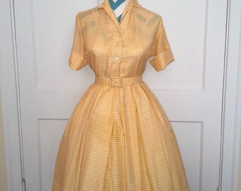 1950s / 50's Vintage Pin Up Shirt Waist Dress Yellow Plaid Small