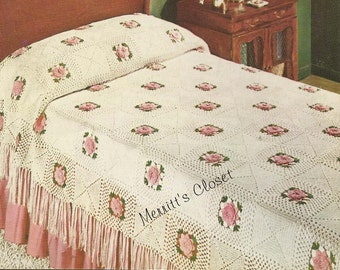 INSTANT DOWNLOAD PDF Vintage Crochet Pattern, Rose Bower Bedspread